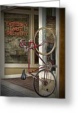 Bicycle Attached To Wall Outside Of Fast Food Restaurant Greeting Card