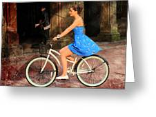 Bicycle Girl 1c Greeting Card