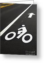 Bicycle Lane Greeting Card by Olivier Le Queinec
