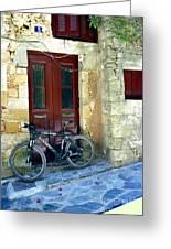 Bicycle Of Santorini Greeting Card
