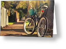 Bicycle On Sunny Street Greeting Card