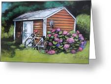 Bicycle Resting On Shed Greeting Card by Melinda Saminski