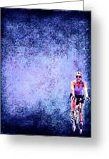Bicycle Rider On Blue Background Greeting Card