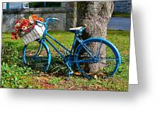 Bicycle With Basket Of Flowers Greeting Card
