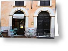 Bicycle With Blue Table And Chairs In Roma Greeting Card