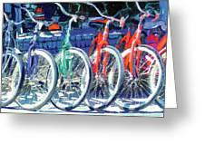 Bicycles In A Row San Diego Greeting Card