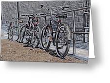 Bicycles On A Rail Greeting Card