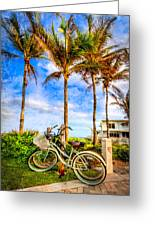 Bicycles Under The Palms Greeting Card