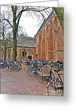 Bicycling To Church Greeting Card