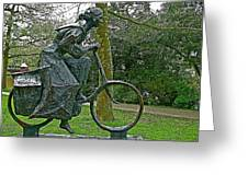Bicyclist Sculpture In The Park In Leeuwarden-netherlands Greeting Card