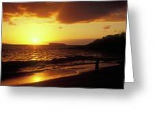 Big Beach Sunset Maui Hawaii Greeting Card