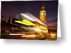 Big Ben And A Bus Trail Greeting Card