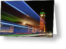 Big Ben Light Trails Greeting Card by Ivelin Donchev