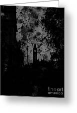 Big Ben Street Black And White Greeting Card