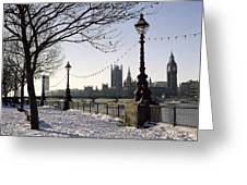 Big Ben Westminster Abbey And Houses Of Parliament In The Snow Greeting Card