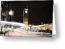 Big Ben With Light Trails Greeting Card