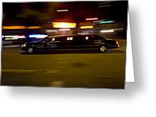 Big Black Limo Cruising Through The City Greeting Card