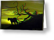 Big Cat Silhouette -  Use Red-cyan 3d Glasses Greeting Card