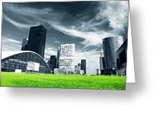 Big City And Green Fresh Meadow Greeting Card