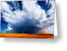 Big Cloud In A Field Greeting Card