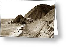 Big Creek Bridge Double Arched Concrete Bridge On Highway 1. About 40 Miles South Of Monterey  1935 Greeting Card
