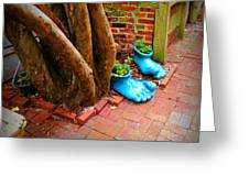 Big Foot Left His Filo Shoes Behind Greeting Card by Lorraine Heath