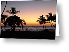 Big Island Hawaii Kona Red Sky Greeting Card
