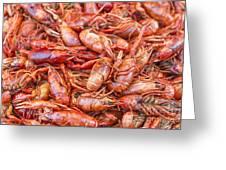 Big Prawns In Market Greeting Card