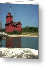 Big Red Holland Michigan Lighthouse Greeting Card