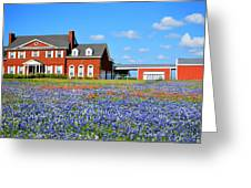 Big Red House On Bluebonnet Hill Greeting Card