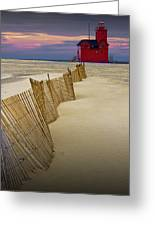 Big Red Lighthouse With Sand Fence At Ottawa Beach Greeting Card