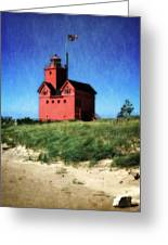 Big Red With Flag Greeting Card by Michelle Calkins