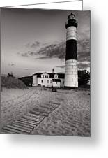 Big Sable Point Lighthouse In Black And White Greeting Card