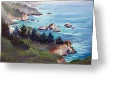 Big Sur In The Mist Greeting Card by Karin  Leonard
