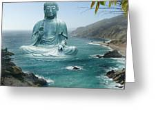 Big Sur Tea Garden Buddha Greeting Card by Alixandra Mullins