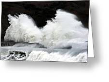Big Waves Breaking On Breakwater Greeting Card