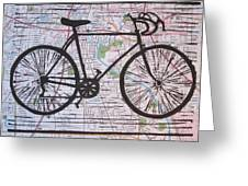 Bike 8 On Map Greeting Card by William Cauthern