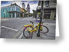 Bike And 3 Georges In Mobile Alabama Greeting Card