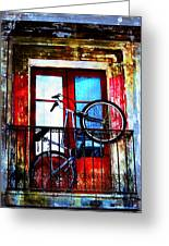 Bike In The Balcony Greeting Card