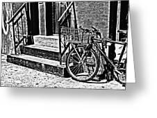 Bike In The Sun Black And White Greeting Card