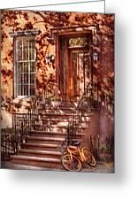 Bike - Ny - Greenwich Village - An Orange Bike  Greeting Card by Mike Savad