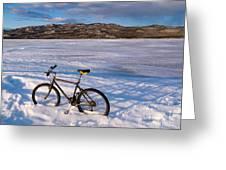 Bike On Frozen Lake Laberge Yukon Canada Greeting Card