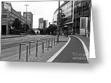 Bike Path In Hamburg Mono Greeting Card