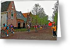 Bike Race On Orange Day In Enkhuizen-netherlands Greeting Card