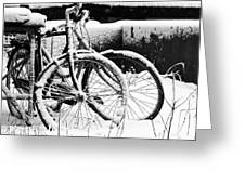Bike Under Snow Greeting Card