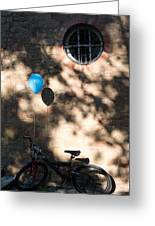 Bike With Balloon Greeting Card