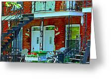 Bikes Balconies Brick Houses Flower Boxes Verdun Duplex Stairs Summer Scenes Carole Spandau Greeting Card