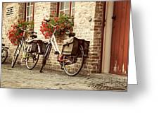 Bikes In The School Yard Greeting Card