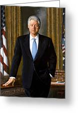 Bill Clinton Portrait Greeting Card by Tilen Hrovatic