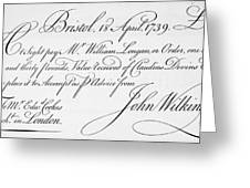Bill Of Exchange, 1739 Greeting Card